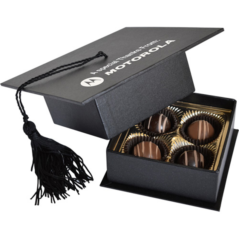 Graduation Cap Box with 4 Truffles