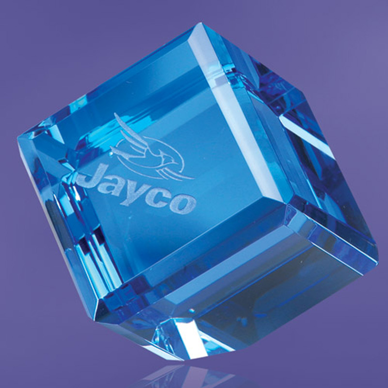 Avoca Blue Cube Paperweight