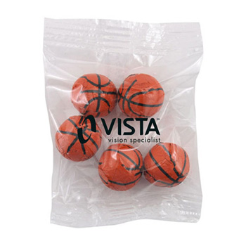 Snack Bag with Chocolate Basketballs