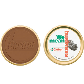 2 oz Round Custom Chocolate in Metal Tin