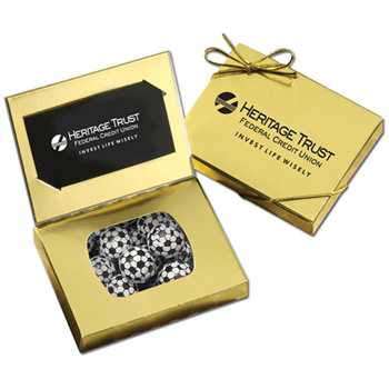 Business Card Box with Chocolate Soccer Balls