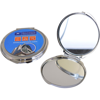 Round Metal Compact Mirror - Full Color