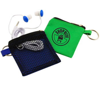 Keychain Pouch with Earbuds