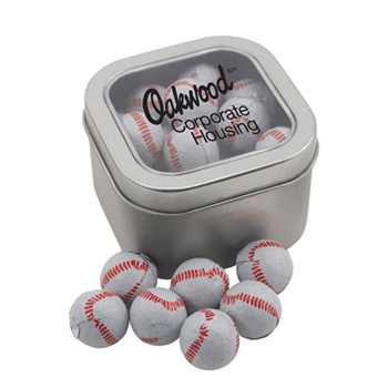 Window Tin with Chocolate Baseballs