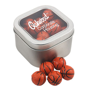 Window Tin with Chocolate Basketballs