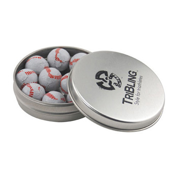 Round Tin with Chocolate Baseballs