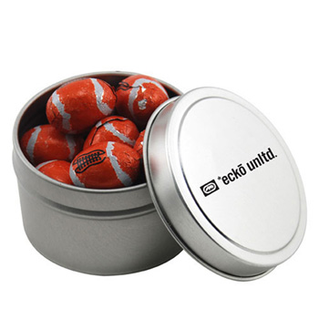 Round Tin with Chocolate Footballs
