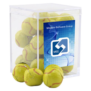 Acrylic Box with Chocolate Tennis Balls