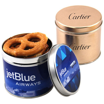 Round Tin with Pretzels