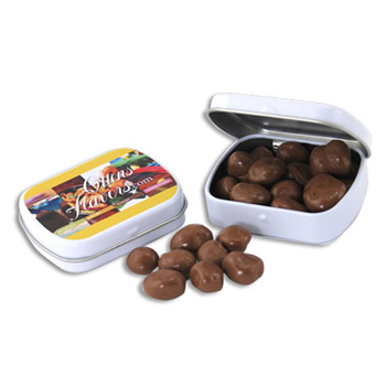 Mini Hinged Tin- Choc. Raisins