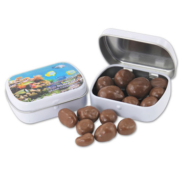 Mini Hinged Tin- Choc. Almonds