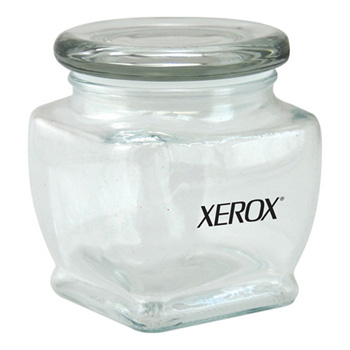 "3 1/8"" Footed Glass Jar Empty"