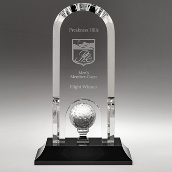 Fairlawn Arch Shaped Award Golf Ball on Pedestal