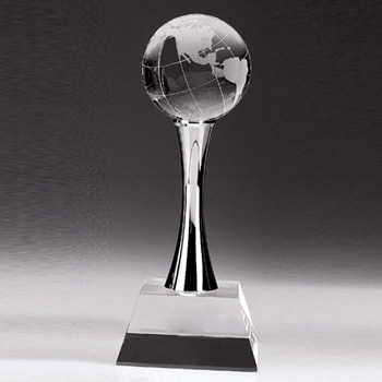 Chester World Globe On Chrome Post