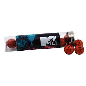 Tube with Chocolate Basketballs